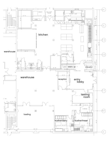 kitchen, kosher kitchens, tasting room, and warehouse.