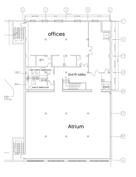 Besides the Atrium event room, there are offices, the elevator, bathrooms, and a green room (or, a bride's room).