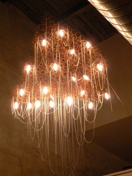One of the 6 chandeliers in the loft, created by Warren Muller at bahdeebahdu.